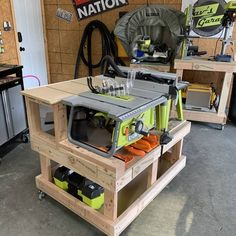 Checkout these Workshop tables for all different RYOBI Tools! Ryobi Router Table, Ryobi Table Saw, Diy Table Saw, A Table, Workbench Designs, Woodworking Workbench, Woodworking Shop, Woodworking Projects, Garage Workshop