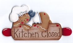 Kitchen Closed Gingerbread Painting by GingerbreadCuties on Etsy