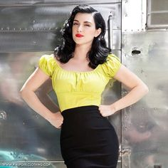 My favorite color in the world is now in a peasant top!  The Chartreuse Pinup Couture Peasant Top is now in stock in sizes XS - 4X at www.pinupgirlclothing.com. Model: @dylandiablita <3 Micheline #pinupgirlclothing #coutureforeverybody #bodypositive #pinupgirlstyle #pinupstyle #pinupgirl #pinup #vintageinspired #pinupcouture