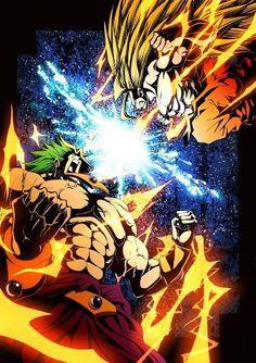 Goku Vs Broly comic style art