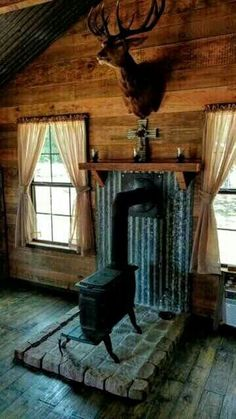 log cabin kinds, the most effective aspects of log cabin sets and celebrities incredible cabin in the woods Cabin Homes, Log Homes, Cabin In The Woods, Cabins And Cottages, Log Cabins, Hunting Cabin, Stove Fireplace, Fireplace Mantles, Cabin Interiors