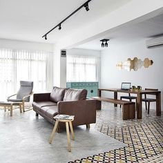 Gorgeous patterned tiles floor! #condo #hdb #bto #sghome #igsg #sgis #sglife #sginterior #homedecor #interior #interiordesign #interiorinspiration #design #style #living #singapore #sofa #armchair