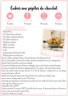 The Kitchen of Happiness - Cookies aux pépites de chocolat - The Kitchen of Happiness Secret Recipe, Beignets, Cookies Et Biscuits, Tupperware, Cookie Bars, Easy Desserts, Bakery, Healthy, Sweet