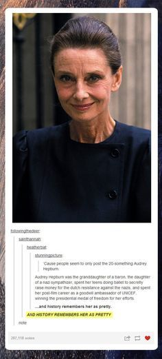 Funny pictures about Older Audrey Hepburn. Oh, and cool pics about Older Audrey Hepburn. Also, Older Audrey Hepburn. Katharine Hepburn, Audrey Hepburn Unicef, Audrey Hepburn Old, Faith In Humanity Restored, Good People, Smart People, Amazing People, Alter, Role Models