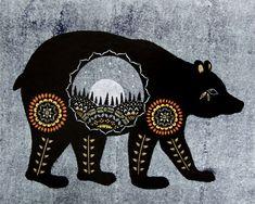 Ursa Major Cut Paper Art Print by ruralpearl on Etsy Art Et Illustration, Illustrations, Art D'ours, Urso Bear, Native American Animals, Karten Diy, Ursa Major, Bear Art, Native Art