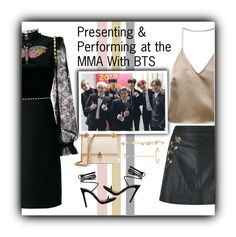 """""""Presenting & Performing at the MMA With BTS"""" by yoonmin94 ❤ liked on Polyvore featuring Miss Selfridge, Barbara Casasola, Kendra Scott, Arme De L'Amour, Gucci and Fendi"""
