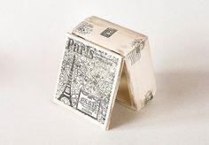Joyería de París madera caja tesorería caja caja París memoria caja francés Eiffel torre recuerdo angustiada caja Francia arte hecho a mano de madera