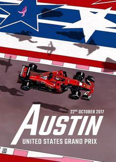 Scuderia Ferrari cover art by Giuseppe Camuncoli for US Grand Prix - 2017 Grand Prix, Nascar, Stock Car, Gp F1, Circuit Of The Americas, F1 2017, Formula 1 Car, Racing Events, Car Posters