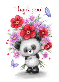 Thank You Panda with Beautiful Flowers and Butterfly card #Ad , #AD, #Beautiful, #Panda, #Flowers, #card