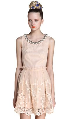 Apricot Sleeveless Bead Embroidery Silk Dress