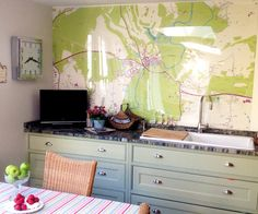 Custom Map Wallpaper by Wallpapered Map Wallpaper, Kitchen Wallpaper, Wall Maps, Wall Mural, Custom Map, Beautiful Kitchens, Wall Design, Ideal Home, Kitchen Design