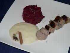 boudin blanc mousse poire epicée et confit de chou rouge
