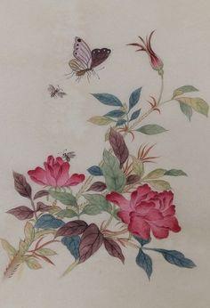 Korean Art, Asian Art, Chinese Painting Flowers, Wildflower Drawing, Contemporary Decorative Art, Korean Painting, Illustration Blume, Textile Fiber Art, Traditional Paintings