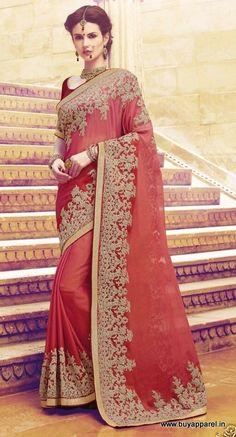 Red Chiffon PartyWear Designer Saree