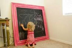 Chalkboard made of wood, chalk paint & molding fun playroom idea