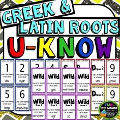 Greek and Latin Roots Game for Literacy Centers: Vocabulary Vocabulary Activities, Reading Activities, Reading Strategies, Guided Reading, Student Teaching, Teaching Resources, Teaching Tools, Teaching Ideas, Phonics Rules