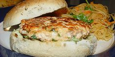 Fusion Salmon Cakes/Burgers - Quick and fresh with cilantro Seafood Recipes, My Recipes, Cake Recipes, Cooking Recipes, Favorite Recipes, Easy Chinese Recipes, Asian Recipes, Ethnic Recipes, Cake Recipe Food Network