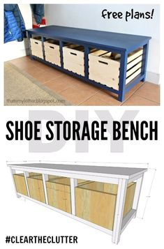 DIY Shoe Storage Bench, #storage and organization Ideas