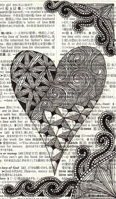 heart Zentangle I like the Zentangle on the on the printed pg Tangle Doodle, Doodles Zentangles, Zen Doodle, Zentangle Patterns, Doodle Art, Heart Doodle, Zantangle Art, Zen Art, Book Page Art
