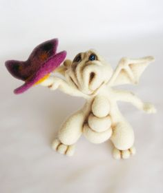 Needle Felted Toy  Little Dragon  rusteam by VladaHom on Etsy, $110.00