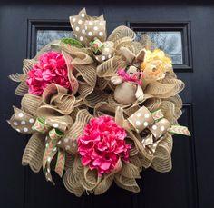 Easter Wreath Burlap Easter Wreath Deco Mesh by JadieAcresFarm, $69.00