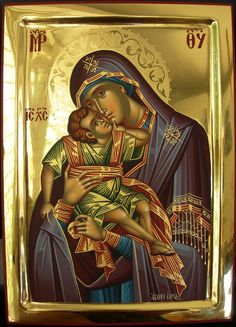 Byzantine Icons, Byzantine Art, Orthodox Catholic, Mary And Jesus, Blessed Virgin Mary, Religious Icons, Orthodox Icons, Illuminated Manuscript, Madonna