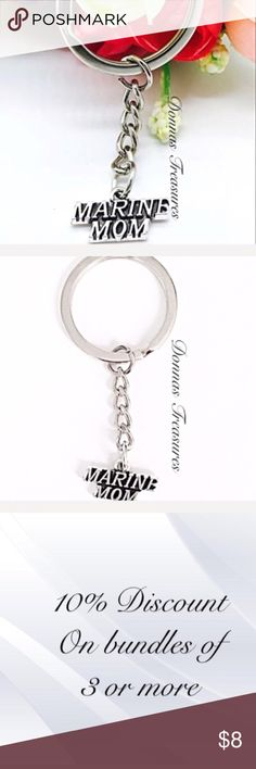 "❄️Marine Mom Keychain This keychain is made of nickel free alloy. Measures: 2.5"" from top to bottom. 1"" long chain.  3/4"" across pendant. 1.25"" ring diameter. Makes a thoughtful gift. Accessories Key & Card Holders"
