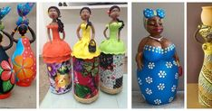 Aprende cómo hacer una linda africana con botellas recicladas Bottle Art, Bottle Crafts, African Crafts, Air Dry Clay, Cold Porcelain, Homemade Gifts, Art Girl, Decoration, Projects To Try