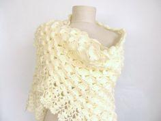 Crochet shawl wedding bridal shawl ofwhite shawl light by asuhan, $80.00