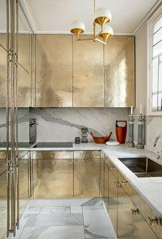 Gold kitchen by Jean Louis Deniot