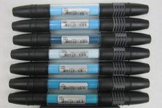 Lot of 7 Cyan Group Tria Tri-Tip Markers By Letraset  #Letraset