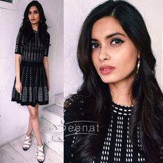 #DianaPenty wore a Black and White dress from #H&M paired with thick strapped heels. #HappyBhagJayegi