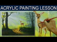 Acrylic Painting Tutorial Kingfisher Blue Bird on a Tree Branch with Flowers and Waterfall - YouTube