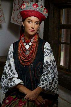 Ukrainian traditional costume from Poltava region, the end of XIX century Ukrainian beautiful ethno