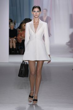 "Dior Spring Summer 2013 Ready-to-Wear – Look 6: White wool/silk ""Bar"" coat dress. Discover more on www.dior.com #Dior#PFW"