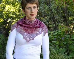 Ritter is a triangular shawl worked from the top down. It features an abstract floral lace body with a geometric edging. Worked in a silk and merino blend yarn, it has elegant drape and is a lovely little accessory. Lace Body, Floral Lace, Ravelry, Elegant, Knitting, Crochet, Tops, Scarves, Gift