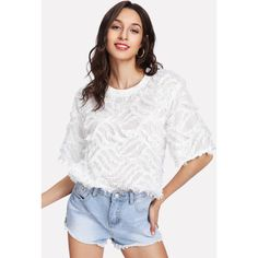 SheIn(sheinside) Short Sleeve Fringe Jacquard Top (3.280 HUF) ❤ liked on Polyvore featuring tops, white, sleeve top, white short sleeve top, embellished collar top, jacquard top and fringe top