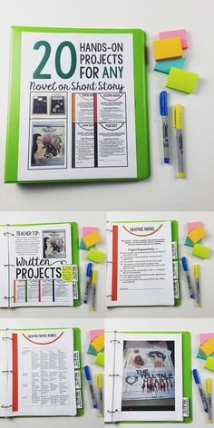 20 hands-on projects for any novel middle and high school grades Includes assignment sheet, rubrics, and examples 8th Grade Ela, 6th Grade Reading, Middle School Reading, Middle School English, Middle School Classroom, Homeschool High School, English Classroom, Homeschooling, Ninth Grade