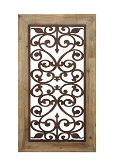 Metal Wood Wall Plaque, 46 by 26-Inch