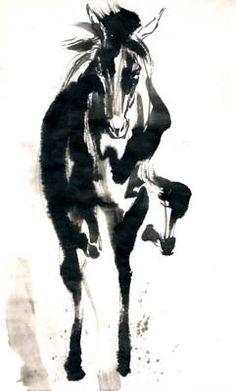 墨絵 イラスト 馬 - Google 検索 Chinese Brush, Chinese Art, Ink Painting, Watercolor Art, Ink Wash, Chinese Painting, Brush Strokes, Samurai, Horses
