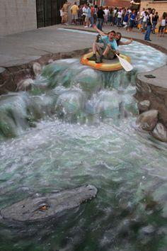 3D, river, crocodile, Julian Beever