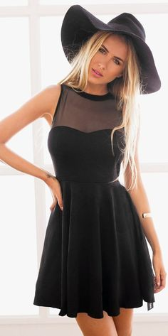 Cute LBD black skater mini dress! Ideal for holiday, club, cocktail party, night out, wedding guest, or semi-formal occasion. || More at http://www.cutedresses.co/product/skater-long-sleeves-mesh-panel-flare-casual-dress
