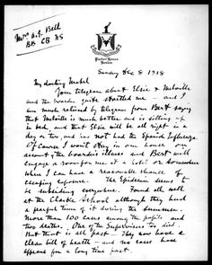 """Alexander Graham Bell wrote a letter to his wife on the 8th of December, 1918.  In it he comments that the worst of the """"Spanish Influenza"""" seems to be over.  His exact words (noted in a typed transcription of his handwritten letter): """"The epidemic seems to be subsiding everywhere"""". That was true, for a time.  Then it returned in 1919. Credits Image of Bell letter, online courtesy Library of Congress."""