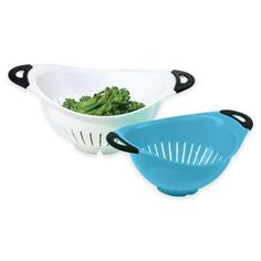 Oggi™ 2-Piece Colander Set in White/Blue - BedBathandBeyond.com