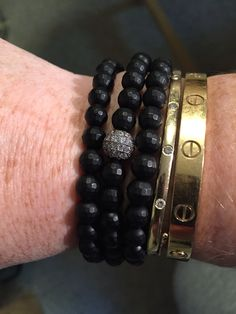 Faceted matte onyx and diamond ball wrap bracelet
