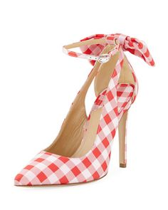 Fiona+Gingham+Pump+with+Ankle+Cutouts+by+Paul+Andrew+at+Bergdorf+Goodman.
