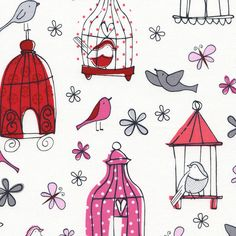 Cotton Quilt Fabric Bird Cages Whimsical Butterfly Floral - product images of Fabric Butterfly, Fabric Birds, Floral Fabric, Fabric Flowers, Boutique Kawaii, Timeless Treasures Fabric, Novelty Fabric, Modes4u, Bird Cages