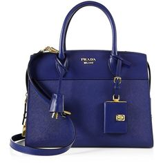 Prada Women's Esplanade Medium Leather Tote (6.932.650 COP) ❤ liked on Polyvore featuring bags, handbags, tote bags, bluette, handbags - prada handbags, blue leather tote, leather man bags, leather purses, leather tote and structured leather tote