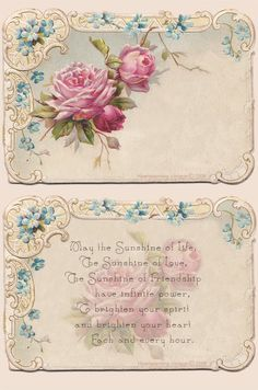 Free Printable...Gorgeous vintage friendship cards ! Love these!
