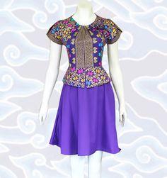 baju dress batik modern wanita terbaru DM84 warna ungu keren selengkapnya di http://senandung.net/baju-dress-batik-modern/